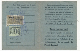 FRANCE - Carte De Pêche L'HAMEÇON Aubenas Ardèche 1966 - Fiscal Taxe Piscicole Ordinaire + Vignette Locale - Revenue Stamps