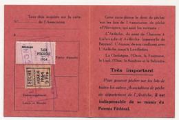 FRANCE - Carte De Pêche L'HAMEÇON Aubenas Ardèche 1964 - Fiscal Taxe Piscicole Ordinaire + Vignette Locale - Revenue Stamps