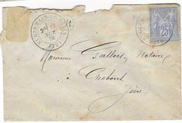1876 / Enveloppe Cachet St-Germain Du Plain / 71 Saône Et Loire / + Cachet OR / Pour Gallois Notaire à Chabons 38 - 1849-1876: Periodo Classico