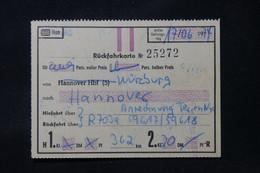 ALLEMAGNE - Billet De Retour Pour 2 Personnes Wisburg/ Hannover En 1974 - L 88758 - Andere
