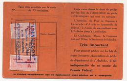 FRANCE - Carte De Pêche L'HAMEÇON Aubenas Ardèche 1976 - Fiscaux Taxe Piscicole Ordinaire + Supplément Lancer + Locale - Revenue Stamps