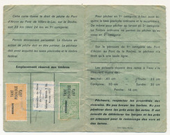FRANCE - Parcours Pêche VILLERS LE LAC - Permis Touristique - Fiscaux Taxe Piscicole Ordinaire + Supplément + Timbre Féd - Revenue Stamps