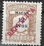 Macao Mint No Gum 18 Euros 1914 - Postage Due