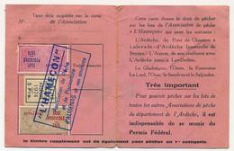 FRANCE - Carte De Pêche L'HAMEÇON Aubenas Ardèche 1974 - Fiscaux Taxe Piscicole Ordinaire + Supplément Lancer + Locale - Revenue Stamps