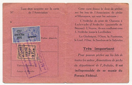 FRANCE - Carte De Pêche L'HAMEÇON Aubenas Ardèche 1967 - Fiscaux Taxe Piscicole Ordinaire + Vignette Fédérale Locale - Revenue Stamps