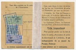 FRANCE - Carte De Pêche L'HAMEÇON Aubenas Ardèche 1975 - Fiscaux Taxe Piscicole Ordinaire + Supplément Lancer + Vignette - Revenue Stamps