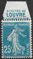 """Semeuse Camée, 25c. Bleu, Y&T 140, ACCP 71, Publicitimbre """"Louvre - Acheter Bien"""", Neuf Sans Charnière - Advertising"""
