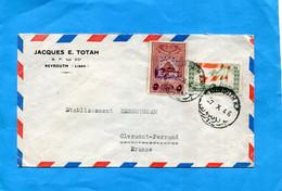 MARCOPHILIE-lettre LIBAN > Françe-cad BEYROUTH-1946- 2 StampsN°14+ Droits Fiscaux - Libanon