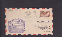 2021_28 Canada Air Mail First Flight Cover   Halifax Sidney 1935 Harbour Ship Dock - Aéreo