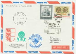 """ÖSTERREICH Sonderballonpostflug WIPA 1981 """"VILLACH – FÜRNITZ"""" Mit ABART R! - Errores & Curiosidades"""
