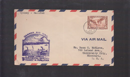 2021_28 Canada Air Mail First Flight Cover  Sydney Halifax Harbour 1935 - Aéreo