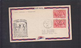 2021_28 Canada Air Mail First Flight Cover  1937 Fort Nelson Edmonton Antelope Antilope - Aéreo