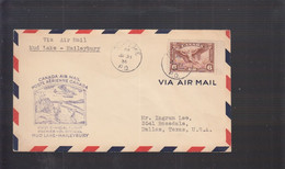 2021_28 Canada Air Mail First Flight Cover  1936 Mud Lake Haileybury Canoa Fishing Indian - Aéreo