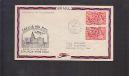 2021_28 Canada Air Mail First Flight Cover  1937 Edmonton Alberta White House - Aéreo