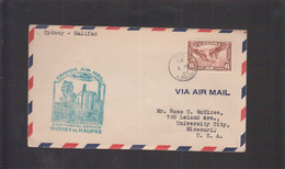 2021_28 Canada Air Mail First Flight Cover  1935 Alifax Sydney Stell Mills - Aéreo