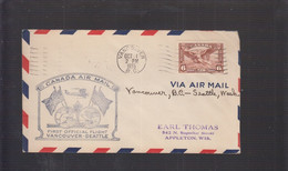 2021_28 Canada Air Mail First Flight Cover  1935 Vancouver Seattle - Aéreo