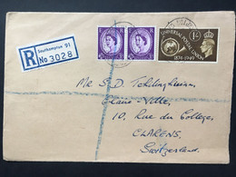 GB Elizabeth 1953 Registered Southampton Cover To Clarens Switzerland - Covers & Documents