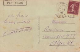 Carte Griffe Transporté Exceptionnellement Par Avion AJACCIO CORSE > Commis Ppal PTT ALGER RP Algérie (timbre Semeuse) - 1921-1960: Periodo Moderno