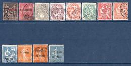 Colonies Françaises Levant 1886/1921 N°4,5,9/11,13/15,17,29,33,34   1 €  (cote 12,40 € 12 Valeurs) - Oblitérés