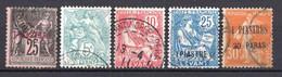 Colonies Françaises Levant 1886/1921 N°4,13,14,17,33   0,30 €  Ex N°1  (cote 3 € 5 Valeurs) - Oblitérés