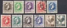 FRANCE - 1944 - Lotto Composto Da 11 Valori Usati: Yvert 634, 636/639, 641, 642, 644, 645, 647 E 648. - 1944 Coq Et Marianne D'Alger
