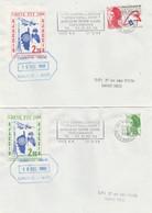 FRANCE GREVE DE CORSE  1988  AJACCIO 2 LETTRES  ESPACE, ROTARY, NAPOLEON, CARTE CORSE - Strike Stamps