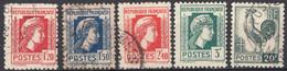 FRANCE - 1944 - Lotto Composto Da 5 Valori Usati: Yvert 638, 639, 641, 642 E 648. - 1944 Coq Et Marianne D'Alger
