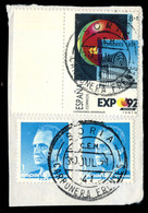 Ø 2990id. Impresión Muy Desplazada. En Fragmento De Carta Circulado. Certificado CEM(1998). Muy Raro. - 1981-90 Usados