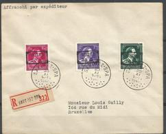SOLDES -1946 - -10% - COB 724 N, O Et P - Oblitérés (o) - Sur Lettre RECOMMANDEE – SART-LEZ-SPA - Lettres & Documents