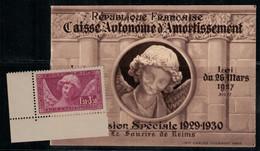 France N° 256 Sourire De Reims Timbre Neuf Sans Charnière Et Couverture Du Carnet (vide) - Unused Stamps
