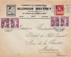 20c Buste De Tell Et 2 Paires 2c1/2 Fils De Tell Obl Chaux-de-Fonds Suisse 15/8/1926 Sur Env Alcindor Matthey Pr Morteau - Cartas