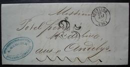 Louviers 1853 A Mercier, Ateliers De Construction Et Filatures à Authouillet Eure, Lettre Taxée Pour Les Andelys - 1849-1876: Classic Period