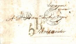 D.P. 9. 1832 (17 OCT). Carta De Burdeos A Santander. Cortes De Desinfección. Bonita. - ...-1850 Vorphilatelie