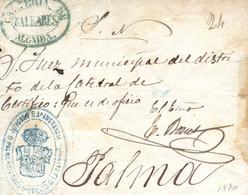 """1870. Carta De Algaida A Palma, El Año 1870. Marca """"Cartería De Algaida"""". Muy Bonita. Ex. Col. Graus. - Lettres & Documents"""