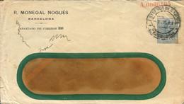 """Sobre Entero Postal """"R. Monetal Nogués - Barcelona"""", Circulado. - 1850-1931"""