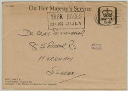 Grossbritannien / United Kingdom 1971, Dienst-Ganzsachenbrief On Her Majety's Service York - Horsham, Races - Horses