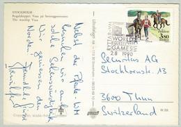 Schweden / Sverige 1990, Ansichtskarte Stockholm - Thun (Schweiz), Ryttar World Games - Horses