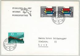 Schweiz / Helvetia 1957, Brief Automobilpostbüro Pferdesporttage St.Gallen - Lyss, Graphic 57 - Horses