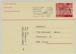 Schweiz / Helvetia 1984, Ganzsachenkarte Biel - Zürich, Concours Hippique Tramelan - Horses