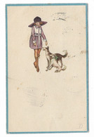 CARD BERTIGLIA SIGNORINETTA CON CANI CORNICE CARD CELESTE 1920  -FP-V-2-0882-29842 - Bertiglia, A.