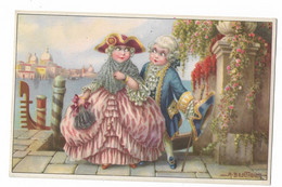 CARD BERTIGLIA COPPIA SCENDE DA GONDOLA LUI GALANTE COSTUMI INIZIO 1800  -FP-N-2-0882-29843 - Bertiglia, A.