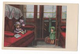 CARD BERTIGLIA PICCOLI VIAGGIATORI IN PRIMA CLASSE IN GRANDE VAGONE LUI TIMIDO 1921  -FP-V-2-0882-29844 - Bertiglia, A.