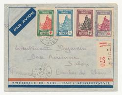 NIGER Lettre Recommandée AEROPOSTALE De N'GUIGMI Du 8 Aout 1942 Pour La Base Aérienne De Salon Affranchie R/V - Lettres & Documents