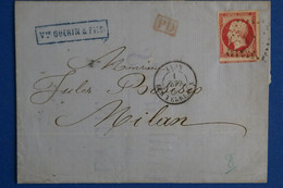 K15 FRANCE BELLE LETTRE RARE 1864 LYON  POUR MILANO + T. P VOISIN+ AFFRANCHIS. PLAISANT - 1862 Napoléon III