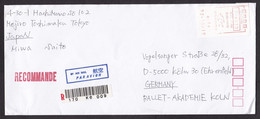 Japan: Registered Airmail Cover To Germany, 1992, ATM Machine Meter Label, Small R-label (traces Of Use) - Cartas