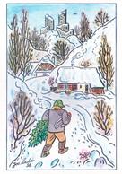 CZECHOSLOVAKIA : COLOUR PICTURE POST CARD : RADOSTNE VANOCE, A STASTNY NOVY ROK, PAINTING - Cartas
