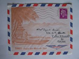FRANCE TAHITI 20-3-1968  Vers SAINT LEU D'ESSERENT CACHET POSTE AUX ARMEES - Usati