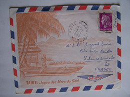 FRANCE TAHITI 22-4-1968  Vers SAINT LEU D'ESSERENT POSTE AUX ARMEES - Usati