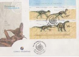 Carta Con Hoja Bloque Dinosaurios De Argentina. - Blocs-feuillets