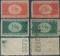 United States,U.S.A,Revenue Stamps DISTRICT OF COLUMBIA BEVERAGE TAX PAID 1/8 & 1/16 GALLON,Perf & Imperf & Perfin -Used - Perforados